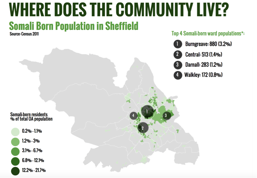 Where does the Somali Community Live in Sheffield